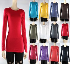 Basic Crew Neck Plain Long Sleeve TOP Layering Cotton/Spandex T-SHIRT So... - $8.99