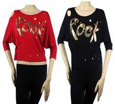 Boat Neck Rock Print 3/4 Slv Sexy Dolman Shirts GoGo Dance Trendy Hole B... - $19.99