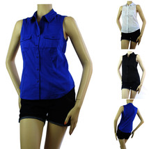 Sleeveless Collar Button Y-SHIRTS Solid Cotton/Spandex Summer Casual Blouse SML - $15.99