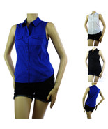 Sleeveless Collar Button Y-SHIRTS Solid Cotton/Spandex Summer Casual Blo... - $15.99