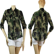 Army Green Chiffon Collar Blouse Shirts Button Adjust Arms Summer Casual Top S,M - $19.99