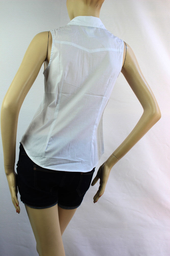 Sleeveless Collar Button Y-SHIRTS Solid Cotton/Spandex Summer Casual Blouse SML