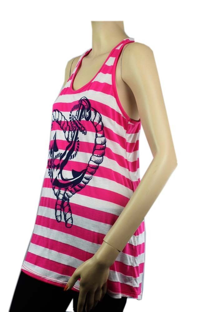 Ankor & Hart Print Striped Racer Back TANK TOP Summer BeachTunic Shirts Spandex