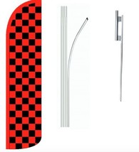 Red and Black Checkered Standard Windless Swooper Flag With Complete Kit - $62.99