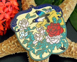Vintage Cloisonne Chinese Enamel Pendant Birds Flowers Roses Large - $28.95
