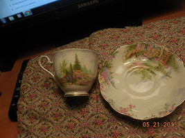 Royal Albert England china cup & saucer Kentish Rockery Queen Mary bone ... - $21.77