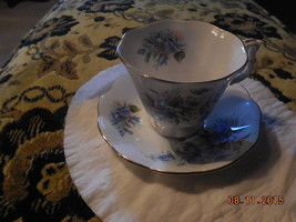 Royal Albert Vintage Cup and saucer Blue Flowers  china England #53 - $39.59