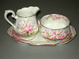 Royal Albert Blossom Time open sugar bowl, cream pitcher & tray, Rd. # 799933 - $19.30