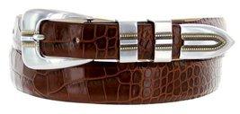 Vincente Men's Genuine Italian Calfskin Leather Dress Belt (44, Alligator Brown) - $29.20