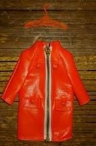 Vtg Francie 1965 Mattel Barbie Doll Clothes Orange Jacket HTF zips + hanger - $44.55
