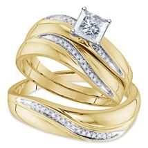 14k Yellow Gold Finish 925 Silver Princess Cut Diamond His Her Trio Ring... - $156.99