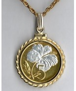 "Cook Islands 5 cent ""White Hibiscus"" Gold on silver coin pendant necklace - $107.00"