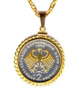 German 2 Mark  Gold & Silver Eagle, coin jewelry pendant necklace - $142.00