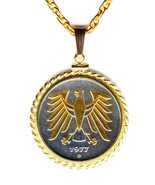 "German 5 Mark ""Gold & Silver Eagle""  coin jewelry pendant necklace - $154.00"