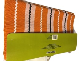 Halloween Autumn Fall Festive Table runner Orange w/Stripes  16in X 72in    - $19.99