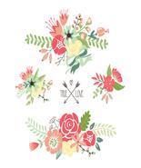 Cute Floral Bouquets-Digital-ClipArt-Art Clip-F... - $4.00