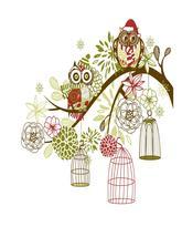 Owl Winter Floral Background-ClipArt-Art Clip. - $3.00