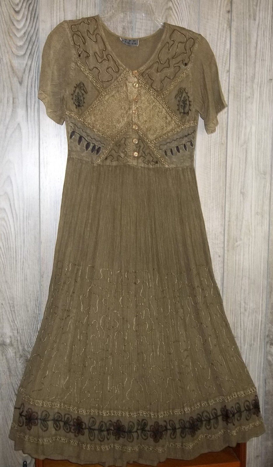 Vintage embroidered dark olive green boho dress small mph