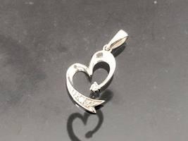 Vintage 10K Solid White Gold Diamond Heart Charm Pendant - $85.00