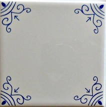 Blue and White Delft Style wall tiles Oxhead corners - $4.00