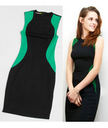 Celebrity Style Black And Green Color Block Slim Fit Chic Dress. Work Dress - $83.90