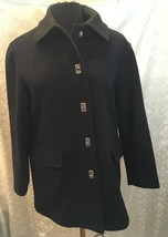 Anne Klein II Petites Black Wool Coat 4P Peacoat Parka 4 P - $44.47
