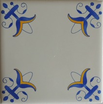 Blue and white Delft Style wall tiles Lilly flower in blue and yellow - $5.00