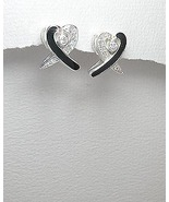 Sterling Silver and CZ Heart Design Post Earrings - $19.95