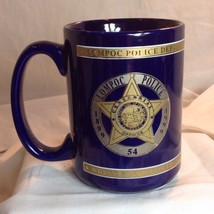 Vtg Lompac CA Police Dept Badge Mug 100 Anv 1899 - 1999 24k Gold Blue - $29.21