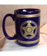 Vtg Lompac CA Police Dept Badge Mug 100 Anv 1899 - 1999 24k Gold Blue - $29.21