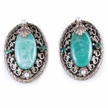 Vintage Earrings Brass tone Filigree Jade Clip On 1940S - $39.26