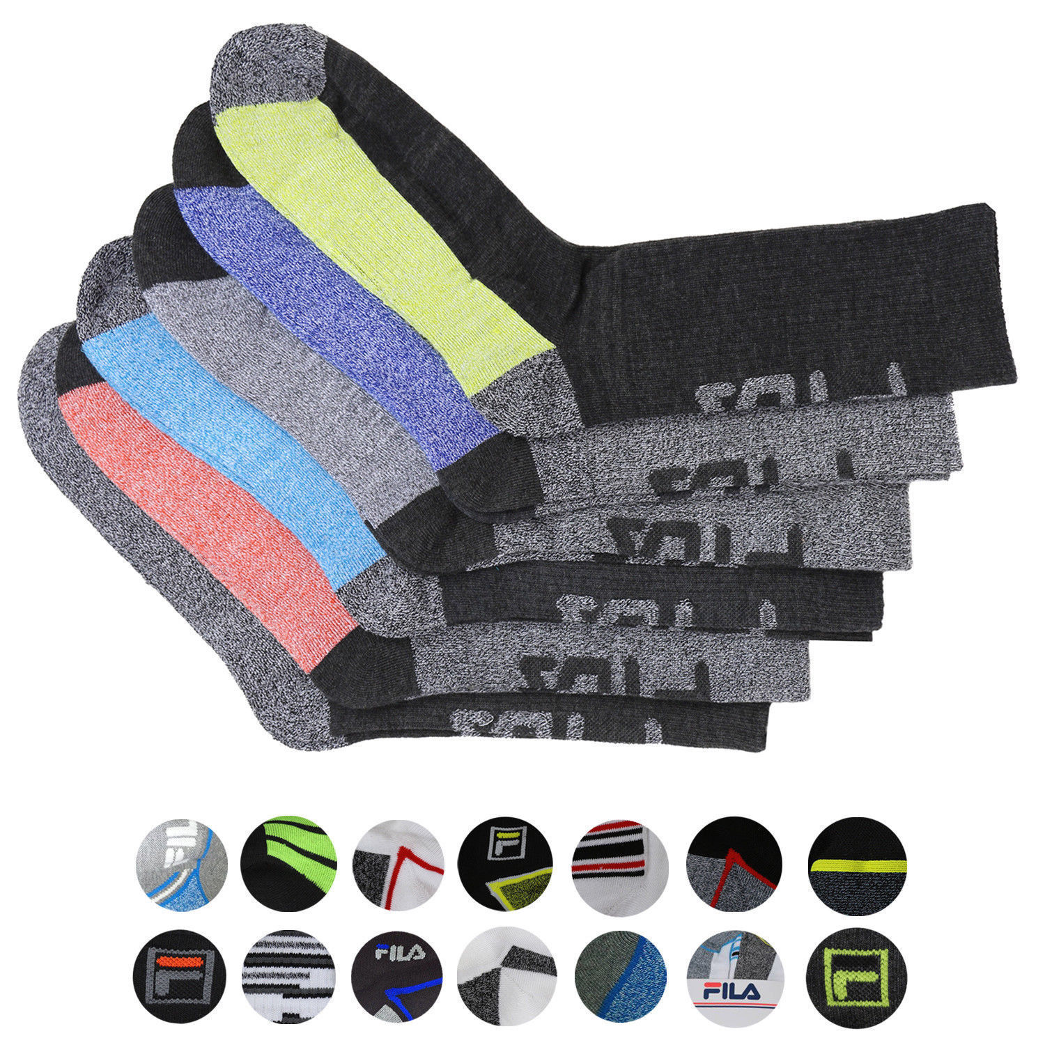 FILA Men's 6 Pack Classic Sport Athletic Gym Moisture Control Absorb Dry Socks