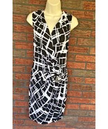 Cache Black White Stretch Dress Small Cinched Waist Ruched Slimming Gold... - $29.70