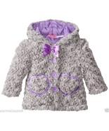 Young Hearts Little Girls' Silver Faux Fur, Purple Linned Hood Jacket, S... - $21.77