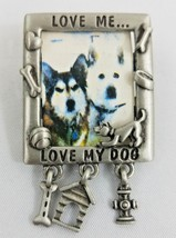 Vtg JJ Jonette Jewelry Love Me Love My Dog Photo Charm Signed Pewter Bro... - $14.84