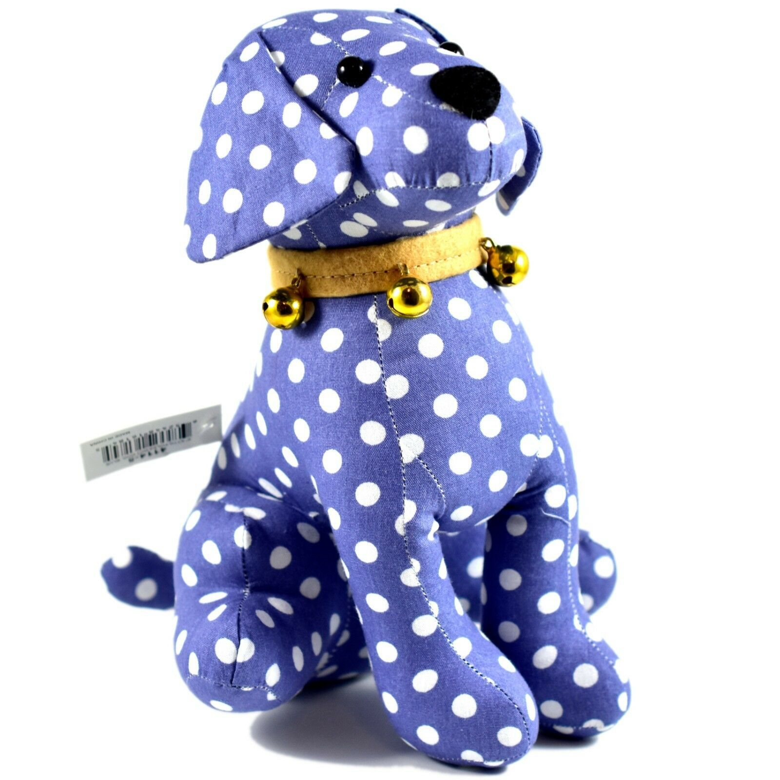 Delton Blue Polka Dot Fabric Puppy Dog Jingle Bell Small Door Stopper Doorstop