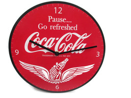 "Coca-Cola Round 12"" Clock Red Pause Go Refreshed Wings Script Logo - BRA... - £18.61 GBP"