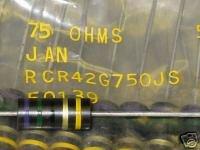 75 Ohm 5% 2W Carbon Comp Resistor AB JANRCR42G750JS 5pc Allen-Bradley