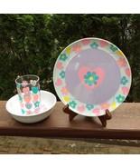 CHILDREN'S  PLATE, BOWL & CUP SET-FLOWERS - £9.41 GBP