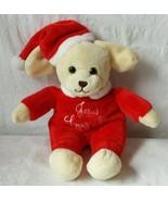 Dan Dee Yellow Plush Dog in Red Christmas Outfit Santa Suit Sings Jesus Loves Me - $19.35