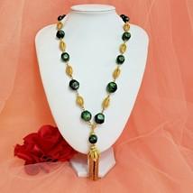 Vintage Green & Gold Pendant Necklace Statement Necklace - $19.97