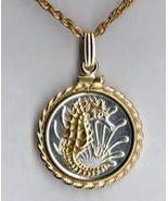 "Singapore 10 cent ""Silver & Gold Sea Horse"" coin pendant necklace - $107.00"