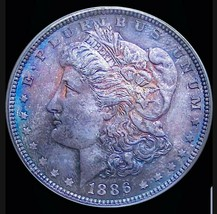 1886 MS63  MORGAN SILVER DOLLAR BEAUTIFUL TONING,  OGH - $93.10