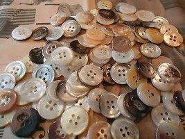 MOTHER of pearl MOP vintage buttons-LGE LOT-1 l... - $22.00