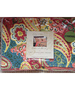COLONIAL PAISLEY MULTI COLORED QUILTED 2 STANARD PILLOW SHAMS NWT - $29.99