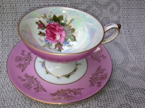 VINTAGE LM ROYAL HALSEY VERY FINE TEA CUP AND SAUCER- just GORGEOUS  Lustreware