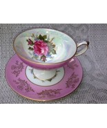 VINTAGE LM ROYAL HALSEY VERY FINE TEA CUP AND SAUCER- just GORGEOUS  Lus... - $49.46