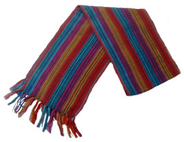 Alpakaandmore Unisex 100% Multicolor Alpaca Wool Scarf, Shawl Stripes 63... - $34.00