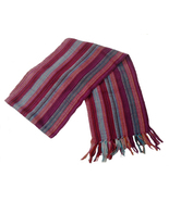 "Alpakaandmore Unisex 100% Red Alpaca Wool Scarf, Shawl Stripes 63""x 4.72"" - £27.50 GBP"