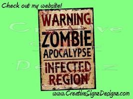 WARNING ZOMBIE APOCALYPSE metal print sign 8x12... - $16.00